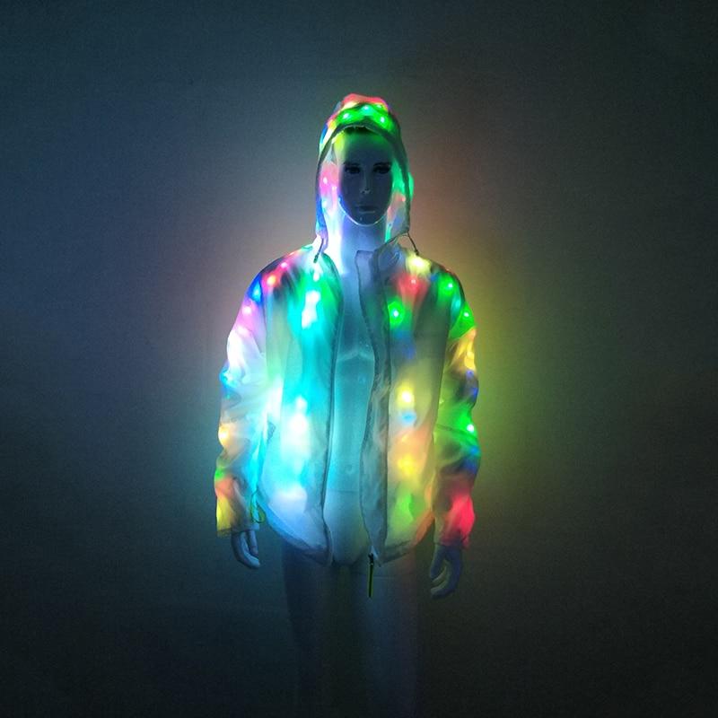 Rave Colorful Light Up LED Hooded Jacket Coat For Men Holiday Party Neon Stage Lights Up LED Jacket Coats Plus Size