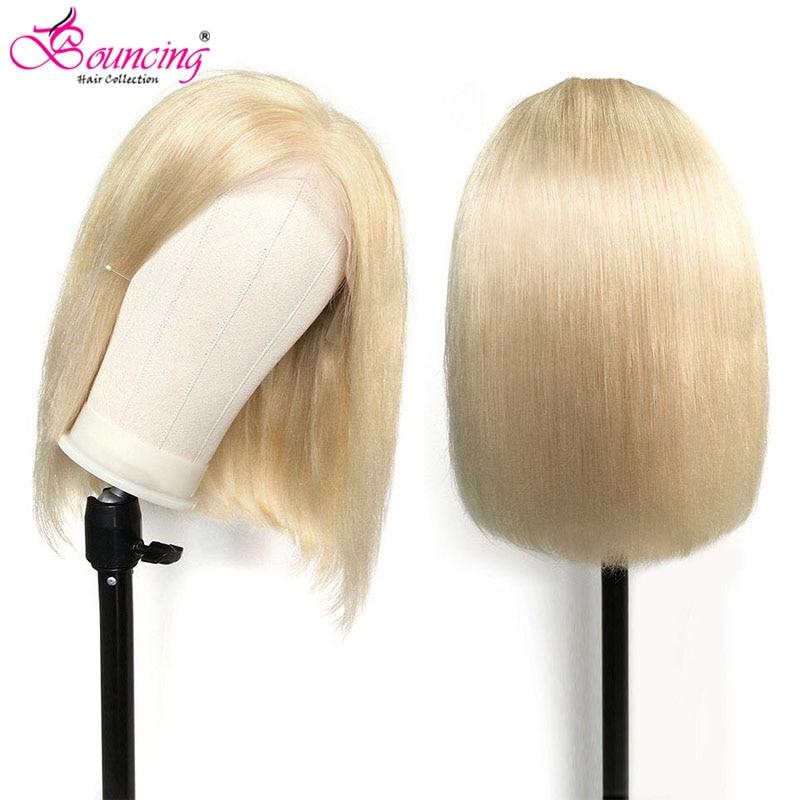 613# Blonde 99J Straight Bob Wigs Human Hair Lace Front Wigs 8 10 12 14 16 Inch Brazilian 150Density 13x4 Lace Frontal Bob Wigs