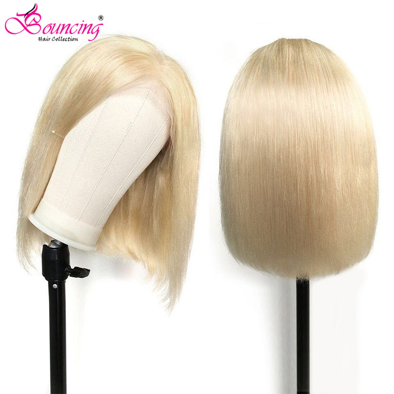 613# Blonde 99J Straight Bob Wigs Human Hair Lace Front Wigs Natural Color 8 10 12Inch Brazilian 150Density 13x4Frontal Bob Wigs