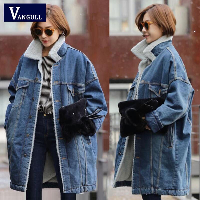 Vangull меховая теплая зимняя джинсовая куртка для женщин 2019 Новая мода осенние шерстяные джинсы с подкладкой пальто для женщин куртка бомбер