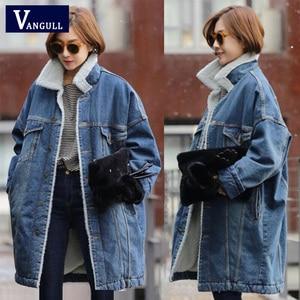 Image 1 - Vangull futro ciepła zimowa kurtka dżinsowa kobiet 2019 nowych moda jesień wełniana podszewka dżinsy płaszcz kobiety kurtki pilotki Casaco Feminino