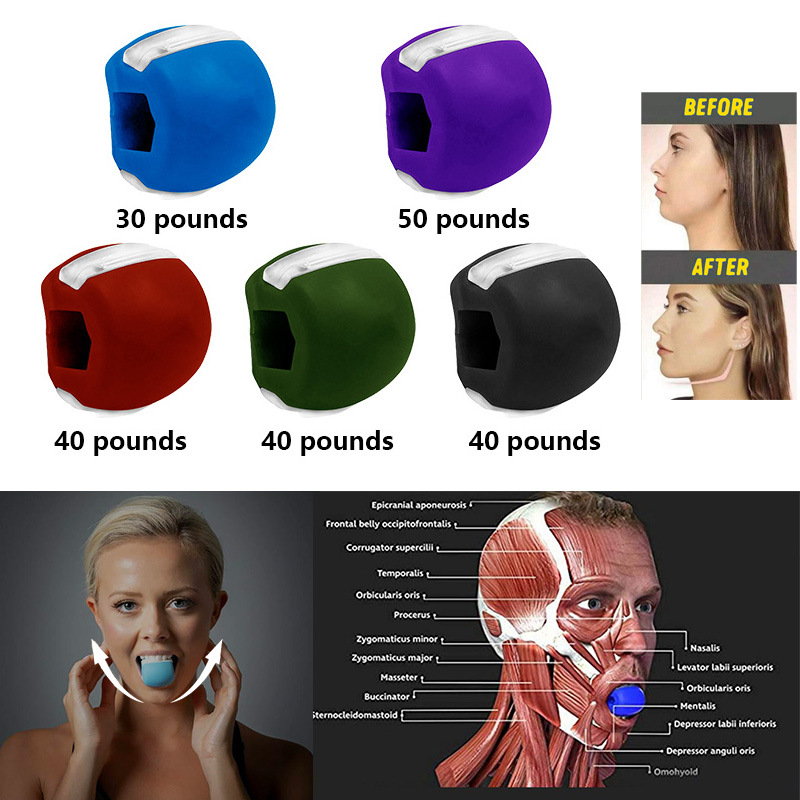 Food grade Silica Gel JawLine Exercise Ball Muscle Trainin Fitness Ball Neck Face Toning Jawrsize Jaw Muscle Training Face lift