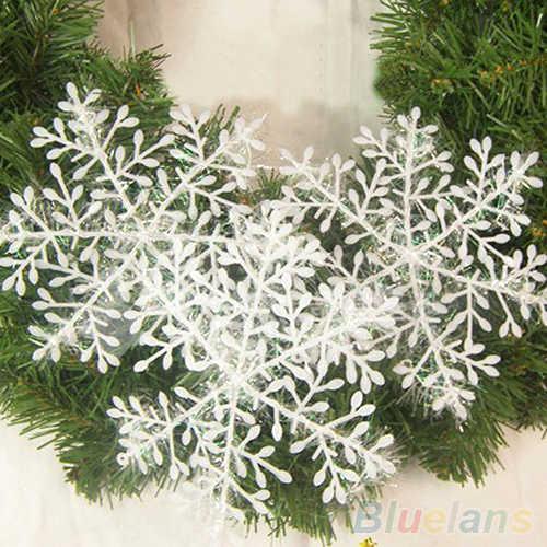 Kerst Decoraties Voor Thuis 30pcs Kerstboomversiering Witte Sneeuwvlok Ornamenten Partij Kunstmatige sneeuw Nieuwe Jaar