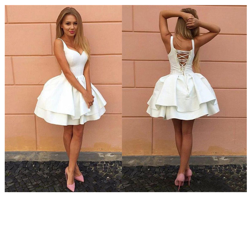 JIERUIZE New White Short  Wedding  Dresses Deep V Neck Lace Up Knee Length Homecoming Dresses Robe De Soiree