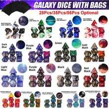 2020 novo Chegada Nebulosa Cortam o Jogo de Dados Poliédricos pçs/set 7 com Saco de Cordão Preto para RPGs de Mesa Jogos 8 Cores
