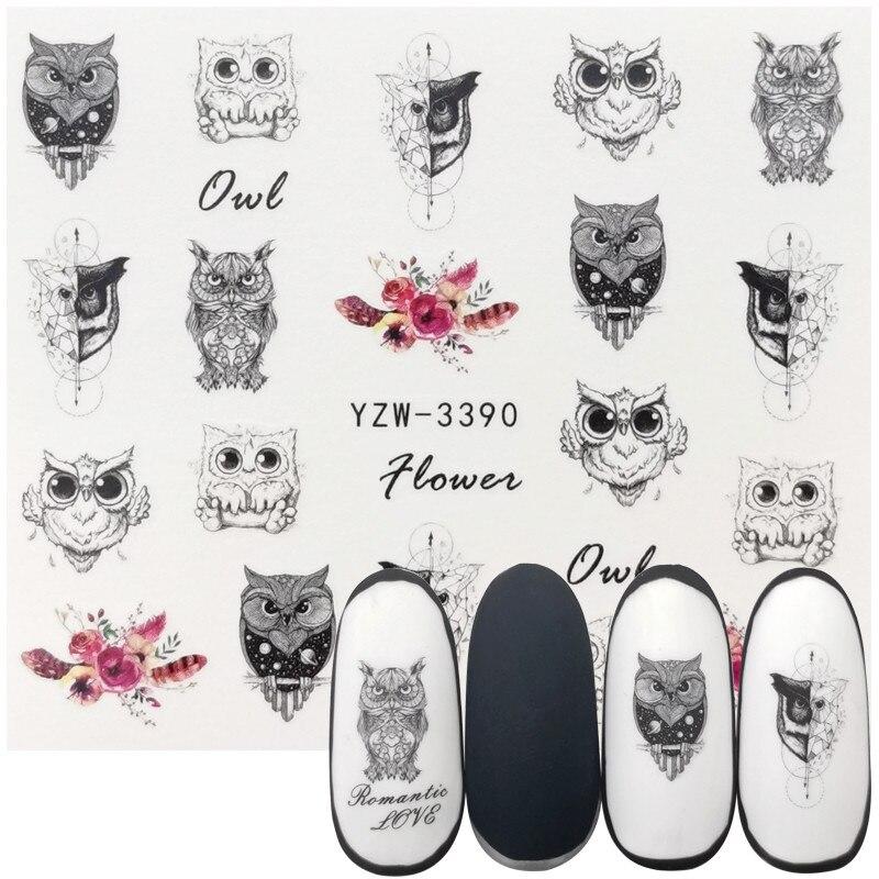 1 Sheet Nail Polish Accessories Watermark Sticker Retro Black Owl Series Water Transfer Decals Manicure Tattoos Foils Slider