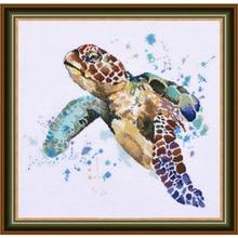 Kit de point de croix compté, Collection Chic, Collection de points de croix, la grandeur de la longévité, tortue de mer
