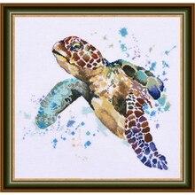 Kit de punto de cruz con cuentas, colección de oro, tortuga marina de la longevidad