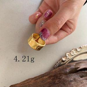 Image 4 - Silvology 925 スターリングシルバー不規則なワイドリングゴールド高品質箔紙ファッショナブルな女性シルバージュエリーギフト