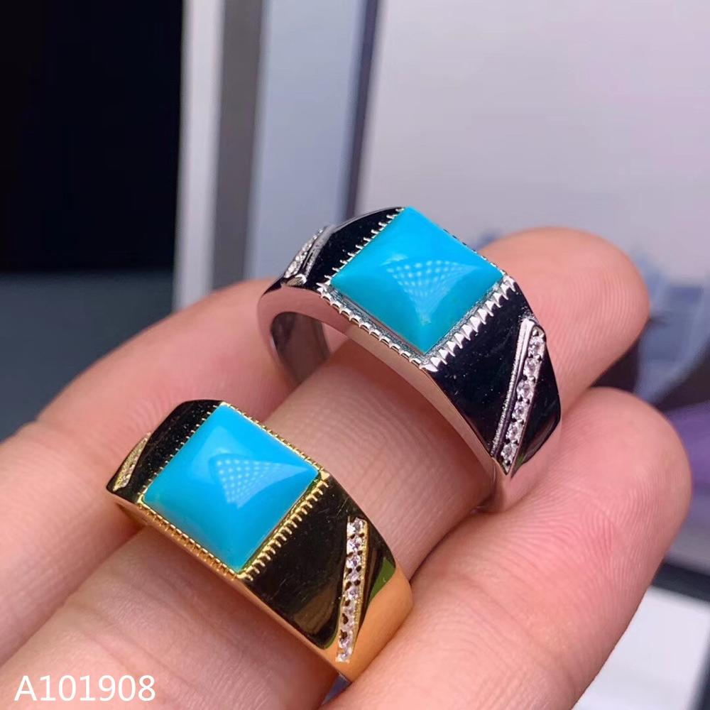 Jewelry Turquoise 925-Sterling-Silver Ring-Support-Detection Blue Natural Inlaid KJJEAXCMY