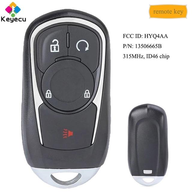 KEYECU akıllı Promixity ile uzaktan araba anahtarı 4 düğme 315MHz ID46 çip FOB Buick Encore 2017 2020 FCC ID: HYQ4AA ,13506665B
