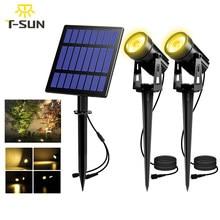 T-SUNRISE Solar Powered Spotlight 2 Warm White Lights Solar Panel Outdoor Lighting Landscape Yard Garden Tree Separately Lamp