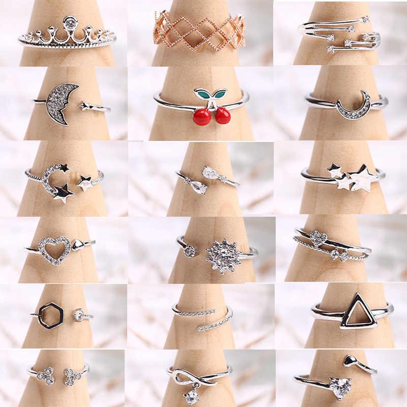 925 серебряных колец для девочек 2019 новые очаровательные Луна Звезда Сердце кольца для женщин серебряная Свадебная Модная бижутерия для помолвки Оптовая Продажа