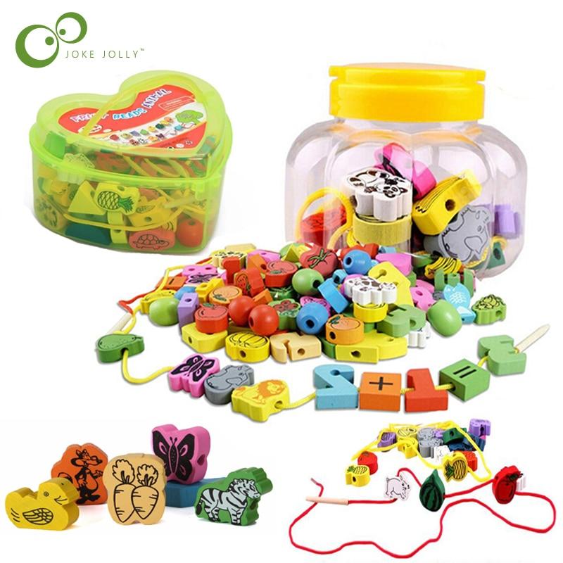26 шт./компл. деревянные животные фруктовые блоки, вязанные нитки, бусины, игрушки, игра, обучение, развивающая игрушка для малышей, детей ZXH