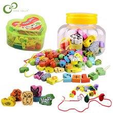 26 pçs/set bloco de frutas animais madeira amarrando rosqueamento contas brinquedos jogo aprendizagem educação brinquedo para o bebê crianças zxh
