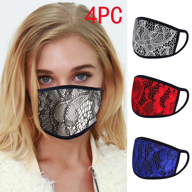 4PC Women Dust Sand Sunscreen Applique Face Cycling Breathable Mask Cotton Dustproof Anime Cartoon Kpop madque lavable#w