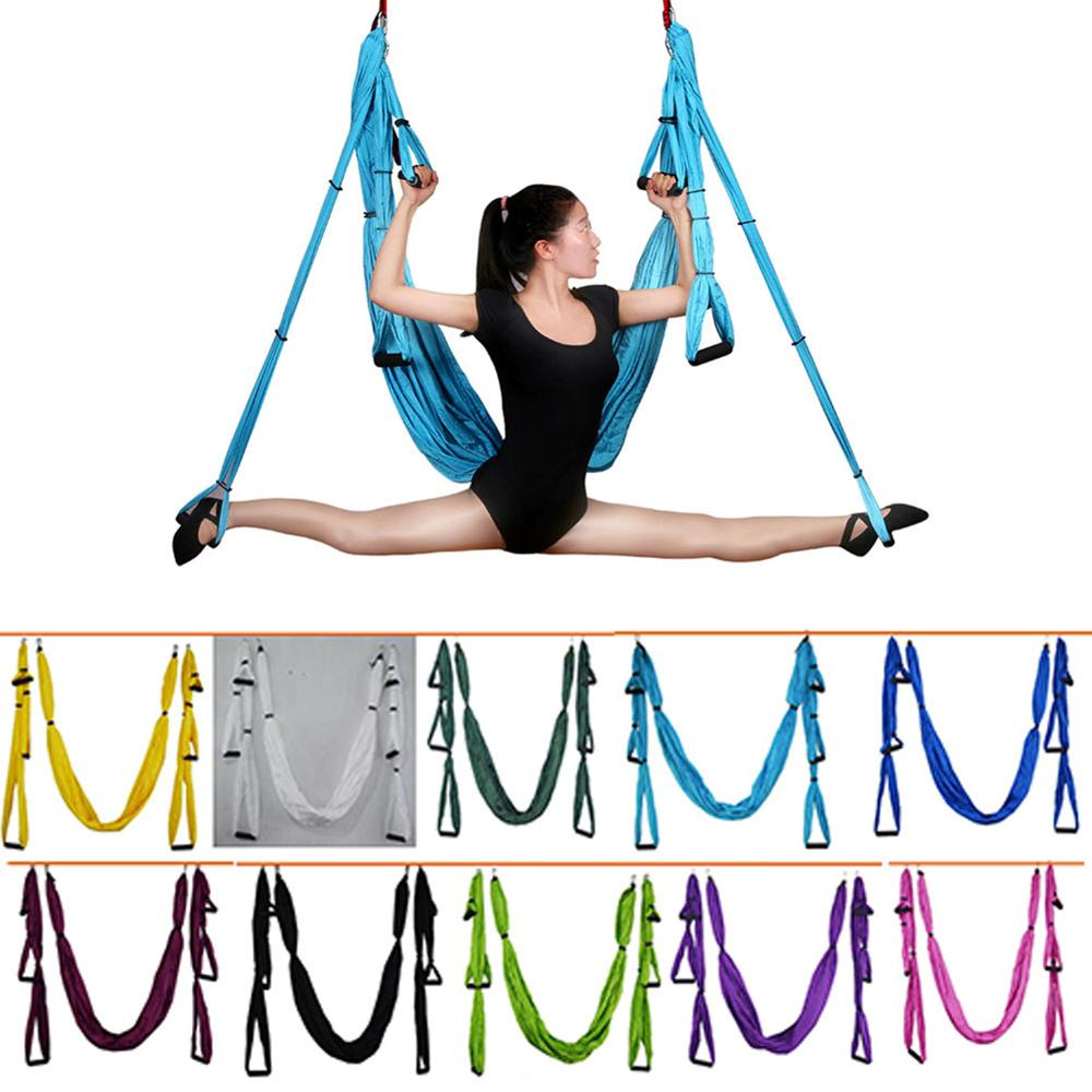 Full Set 6 Handles  Anti-gravity Aerial Yoga Hammock Swing Trapeze Yoga Inversion Exercises Device Home GYM Hanging Belt