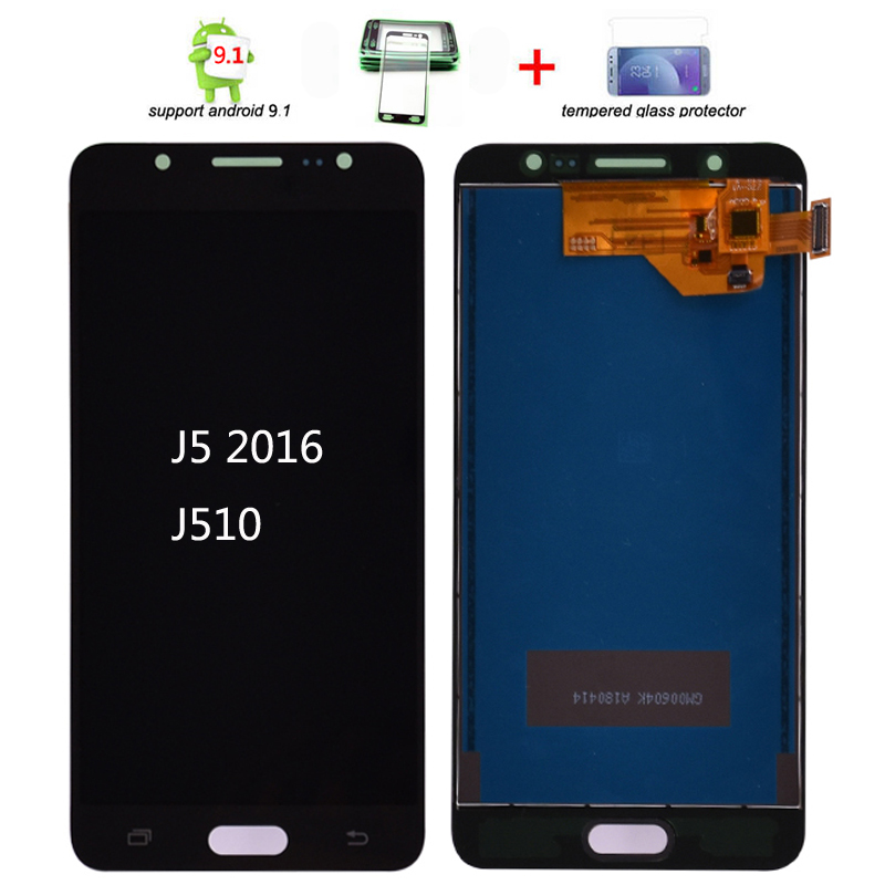 For Samsung Galaxy J5 2016 SM-J510F J510FN J510M J510Y J510G J510 LCD Display Touch Screen Digitizer Assembly Adjust Brightness