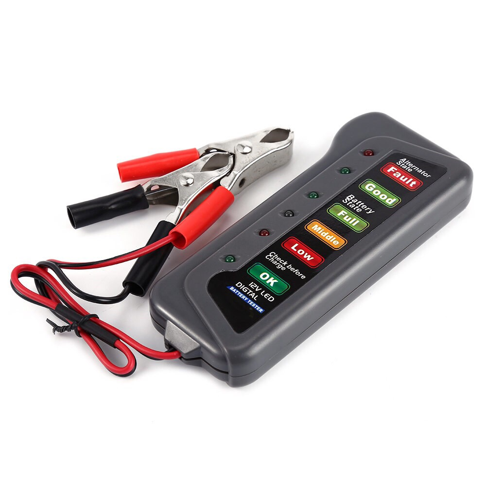 12V <font><b>Car</b></font> <font><b>Battery</b></font> Tester Digital Alternator Tester 6 LED Lights Display <font><b>Car</b></font> <font><b>Diagnostic</b></font> <font><b>Tool</b></font> Auto <font><b>Battery</b></font> Tester For <font><b>Car</b></font> Truck 12V image