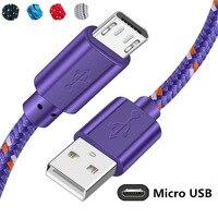 Nylon Geflochtene Micro USB Kabel 0,5 m/1m/2m/3m Daten Sync USB Ladegerät kabel Für Samsung Huawei Xiaomi Tablet Android Telefon Kabel
