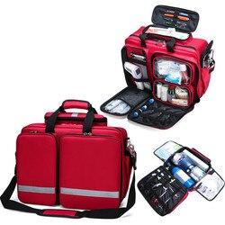 Kit de primeros auxilios al aire libre deporte refrigerable Red Nylon impermeable Cruz bolsa de mensajero familia viaje emergencia bolsa médica Camping