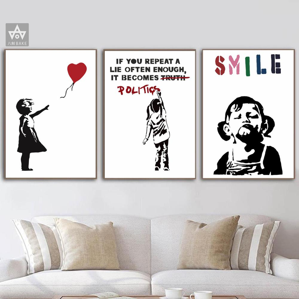 Graffiti Street Art Print Girl With Balloon Woamn Canvas SMILE Girl Painting Banksys Painting Nordic Wall Art Poster Living Room