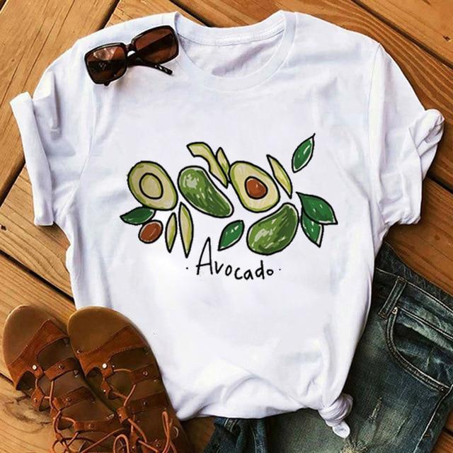 Kawaii Cartoon Avocado Short Sleeve Cotton T-shirt Women Casual Avocado Graphic Tops Female Tee Summer Women T-shirts Tops