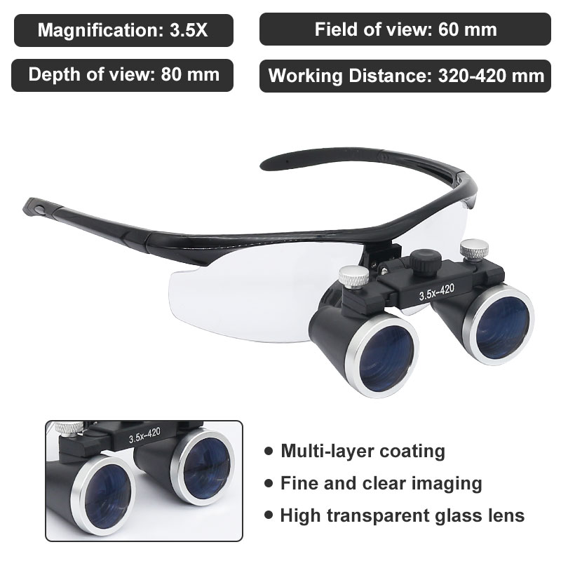 Binocular LED Dental Battery With Lithium Loupe Glasses Magnifying Operation Lamp 3 With Loupe Headlight 5X Rechargeable Medical