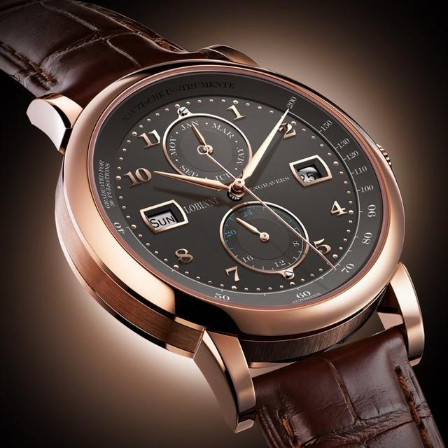 スイス高級ブランド lobinni 腕時計自動機械式メンズメンズ機能サファイアムーンフェイズ時計 L16001 3