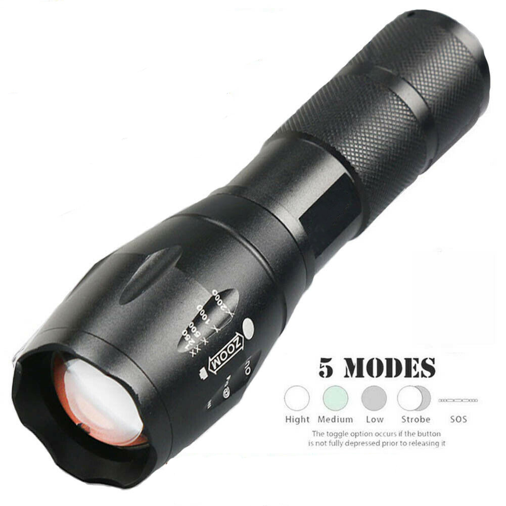 50000LM Portable Lighting Tactical T6 LED Super Bright Rechargeable Flashlight Torch Lamp