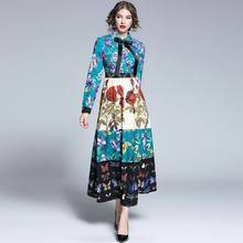 2019 Spring Autumn Runway Maxi Dress Women's Bow Belted Collar Gorgeous Floral Print Retro Vintage Dress Party Long Dress недорого