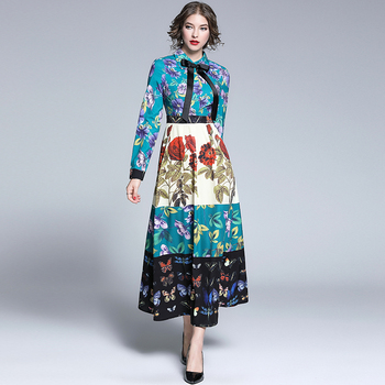 2019 Spring Autumn Runway Maxi Dress Women's Bow Belted Collar Gorgeous Floral Print Retro Vintage Dress Party Long Dress retro floral print skater pin up dress