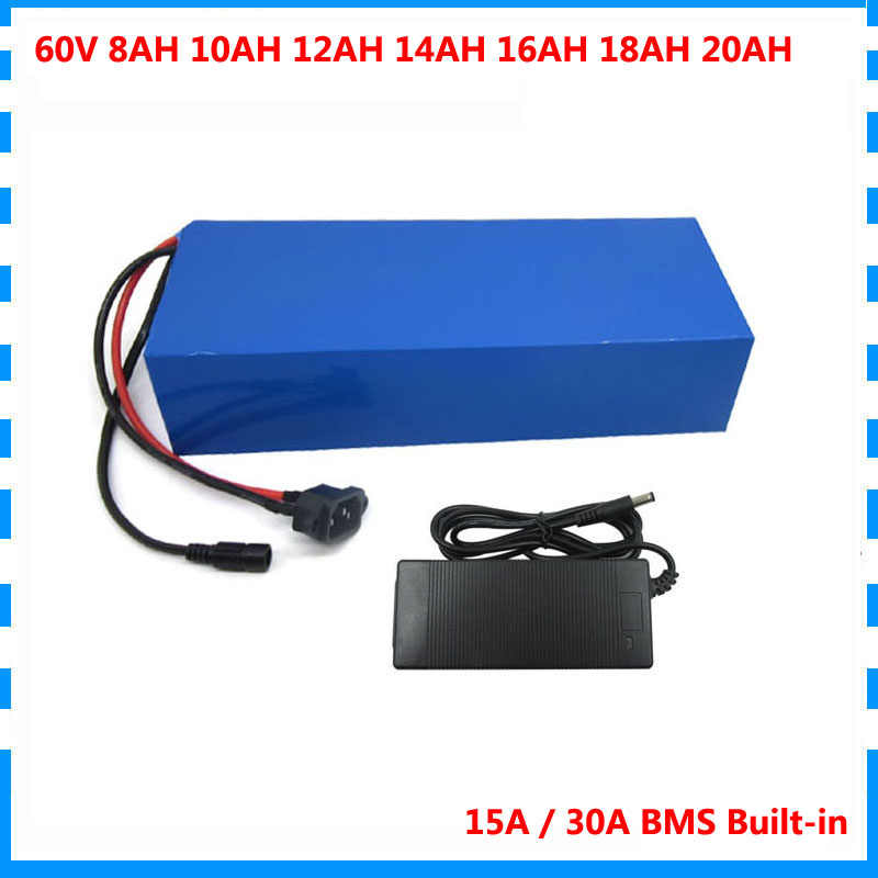 750W 60V 10AH Electric bike battery pack 1500W 60V 20AH lithium ion batteria With BMS 67.2V 2A Charger