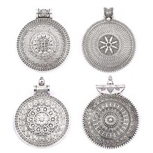 5pcs Antique Silver Round Fine Craved Flower Vintage Pendants Charms For DIY Necklace Making Findings
