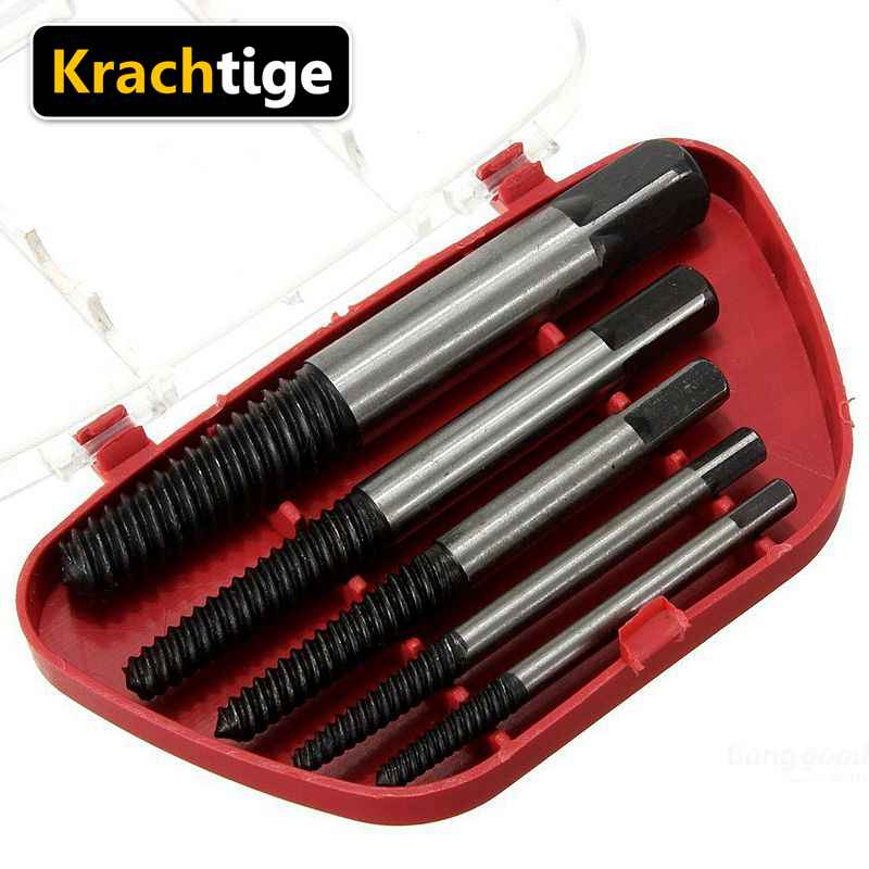 Krachtige 5Pcs Steel Broken Speed Out Damaged Screw Extractor Drill Bit Guide Set Broken Bolt Remover Easy Out Set
