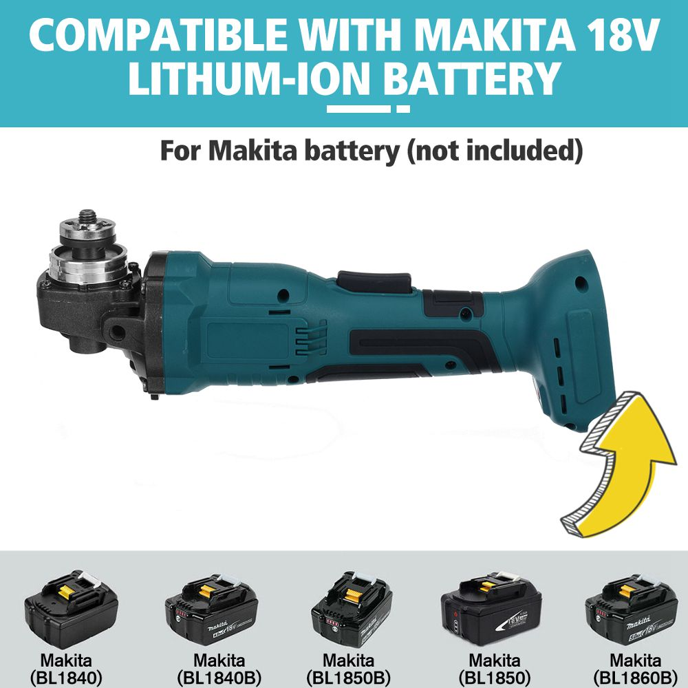 Tools : 800W 100mm Brushless Cordless Impact Angle Grinder Home DIY Power Tool Cutting Grinding Machine Polisher for Makita 18V Battery