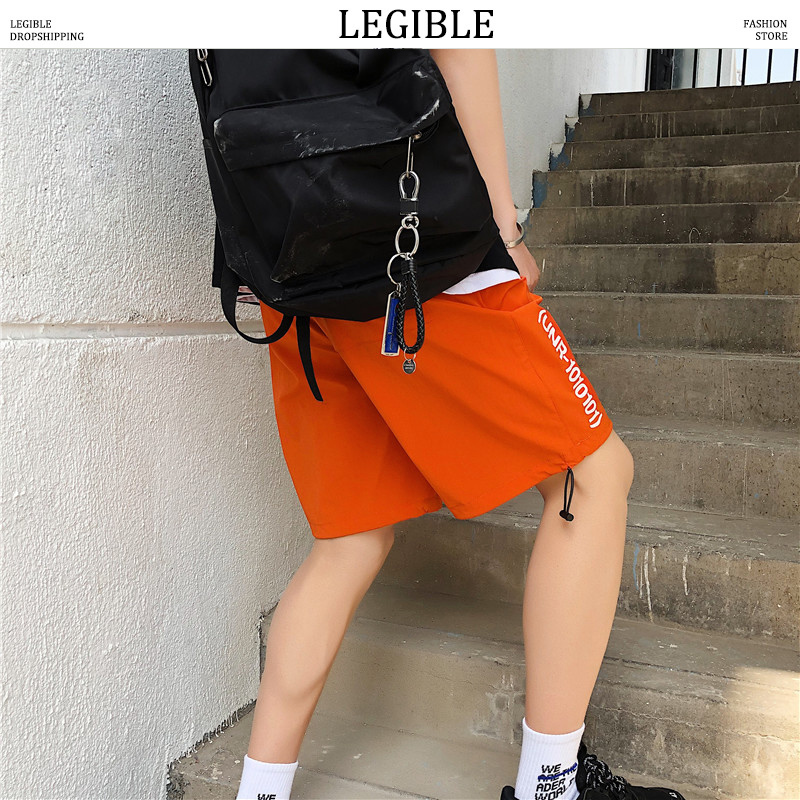 LEGIBLE 2020 Summer Mens Shorts Casual Letter Printed Korean Shorts Male Loose Short Homme Brand Clothing Men's Shorts