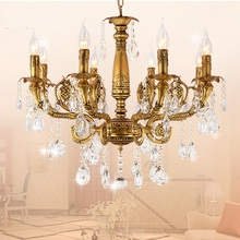 Bronze Crystal E14 LED Chandelier Home living room bedroom dining room study chandelier Commercial Lighting fixtures cheap HSHIXINMAO Hot Bending Parlor Master Bedroom other bedrooms Hotel Hall Hotel Room Chain Pendant Pendant Lights 3 years Alloy