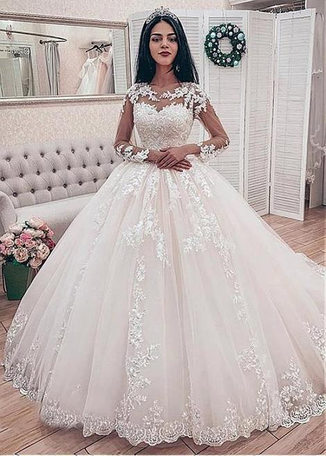 Fashion Muslim Bride Long Sleeve Wedding Dresses 2019 O Neck Appliques Lace Ball Gowns Bridal Dress Wedding Gowns Plus Size