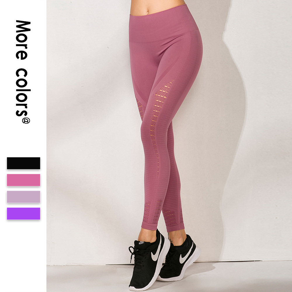 Europe And America Profession Training New Style Yoga Pants Seamless Hollow Out High-waisted Buttock Lifting Leggings Running Sp