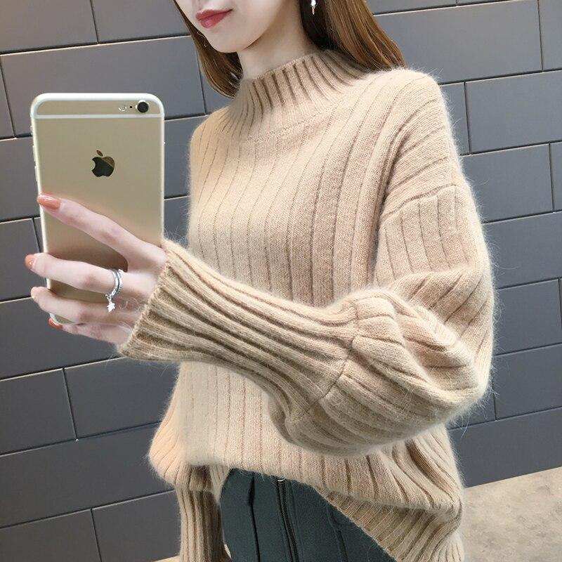Autumn 2019 Knitting Women Sweaters Large Size Knitting Sweaters For Women Turtleneck Elasticity Pullover Harajuku Women Sweater