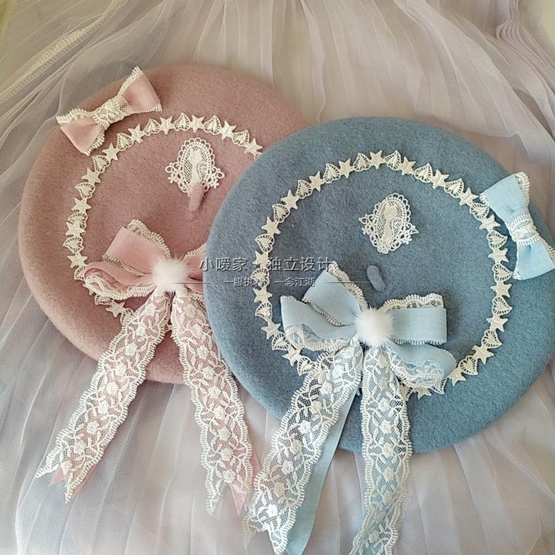 Japanese-style Beret Lolita GIRL'S Sweet Cute Versatile Woolen Women's Hand Made Lace Bow Bud