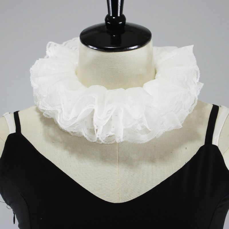 Womens Elizabethan Neck Ruff Tulle Scarf Layered Floral Lace False Fake Collar