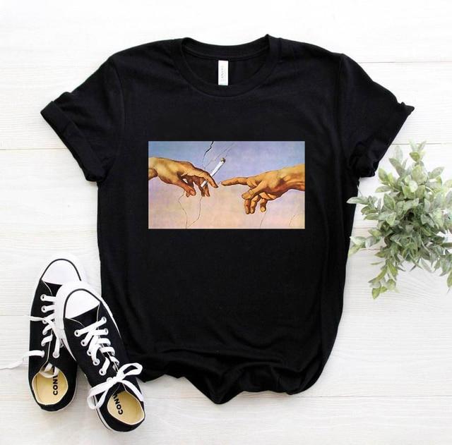 New Michelangelo T Shirt Ulzzang Hands Femme Vintage Women Harajuku Tshirt 90s Aesthetic Female Aesthetic Grunge Graphic T-shirt 2