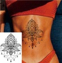 1 PIECE Waist or Body Big Henna Style Lotus Flower Waterproof Temporary Tattoo Art Sexy Fake Tatoo