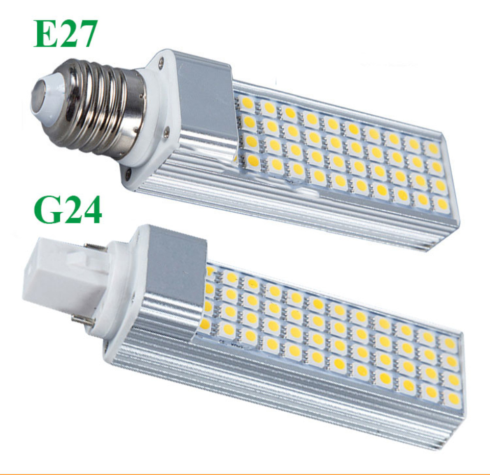 E27 G24 Aluminum Bar Corn Bulb SMD 5050 AC85-265V Cold / Warm White 5W 7W 9W 11W 13W LED Horizontal Bulb 180 Degree Beam Angle