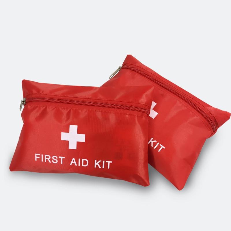 Emergency Survival Kit Mini Red Nylon Striking Cross First Aid Kit Sport Travel Kit For Home Outdoor Car