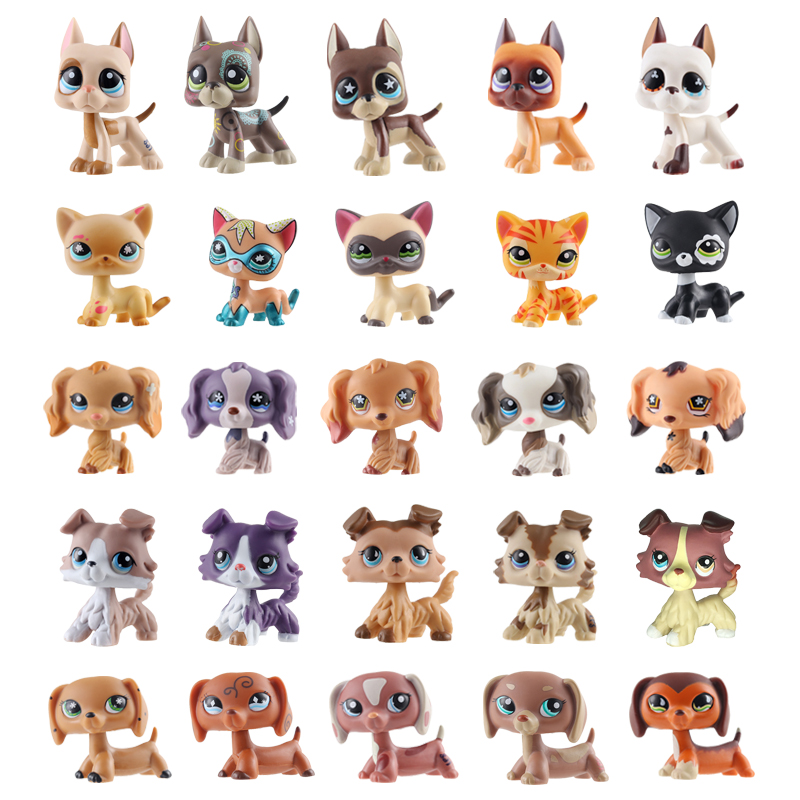 Rare new pet shop lps toy standing short hair cat pink dog original dachshund dog collie cool big dad dog children toy gift