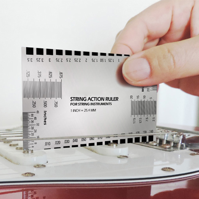 Stainless Steel Guitar Bass Luthier Tool Steel String Action Ruler Gauge Tool For Guitar Bass Mandolin Banjo Dropshipping