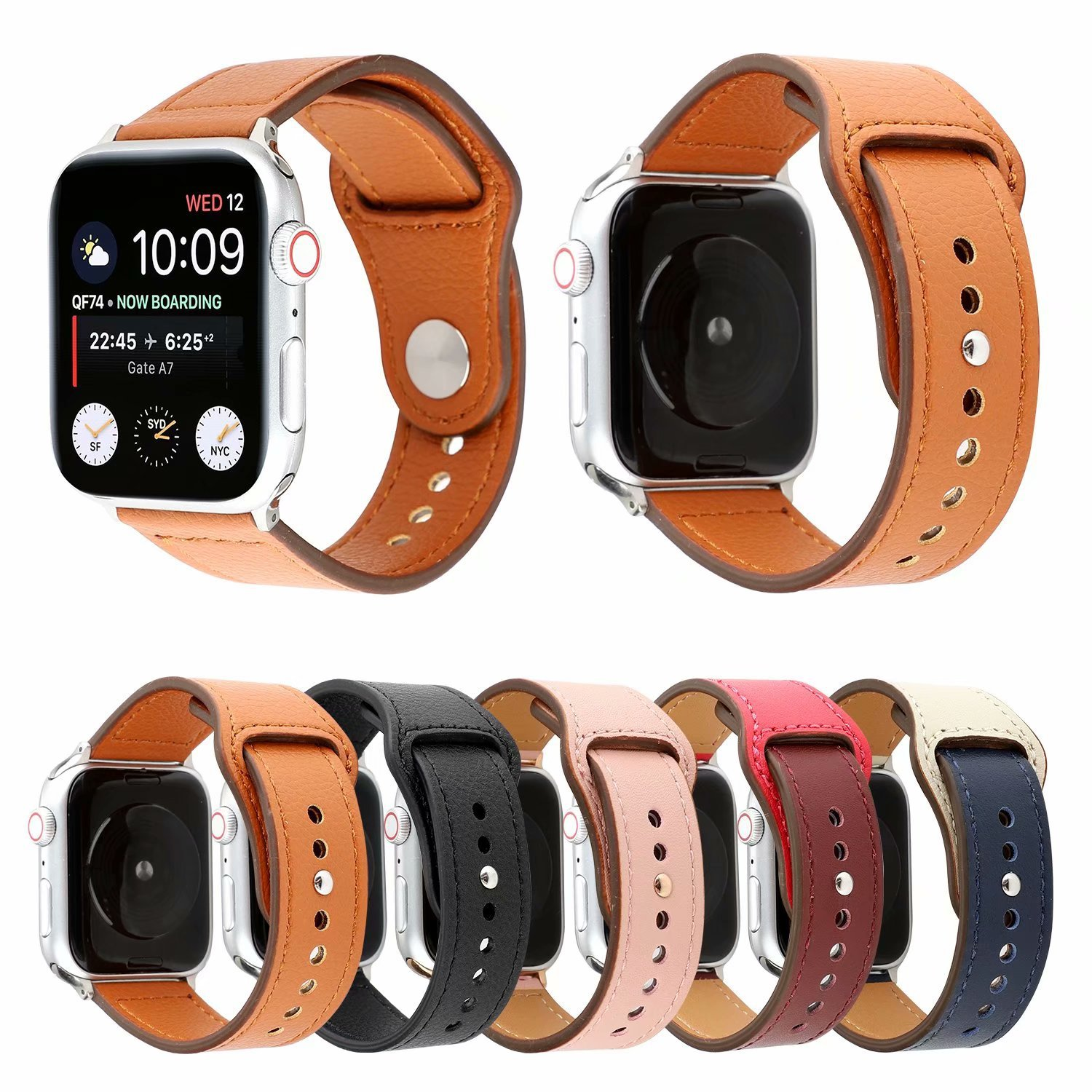 Suitable For Hermes Apple Watch Leather Watch Strap Double Color Round Buckle Iwatch1234 S Contrast Color Sports Watch Strap